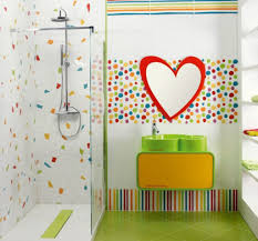 ... Simpleathroom Ideas For Kids Colorful Dots Wall Decoration Green  Flooring Special Shower Stall Children Frameless Glass Home Decor ...
