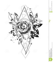Abstract Rose Silhouette Tattoo Triangle Geometric Shapes And Rose