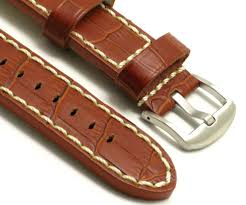 details about 26mm replacement hq brown white crocodile grain leather watch band invicta 26