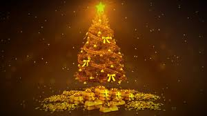FREE HD video backgrounds  celebrations  gold Christmas tree with gold  bars and coins