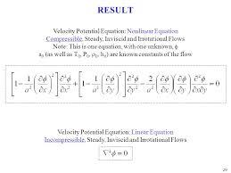result velocity potential equation nar equation