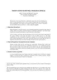 Pdf Twenty Steps To Writing A Research Article