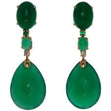 emerald green chandelier earrings green agate emerald and white diamond on yellow gold chandelier earrings for