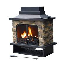 steel faux stone outdoor fireplace l of079pst 1 the home depot