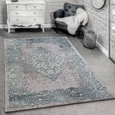 Moderner Teppich Pastell Kariert Grau Türkis Design Teppiche Türkis