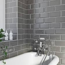 bathroom tiles grey and white. Plain Bathroom British Ceramic Tile Metro Bevel Grey Gloss Tile 100mm X 200mm Throughout Bathroom Tiles Grey And White W