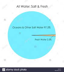 Pie Chart Of Freshwater And Saltwater Salt Water Vs Fresh Water Infographic Stock Photo