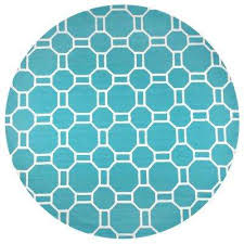 azzura hill teal geometric 8 ft x 8 ft round outdoor area rug