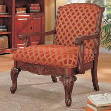 Traditional Accent Chairs Living Room Traditional Red Gold Wood Fabric Queen Anne Legs Accent Chair
