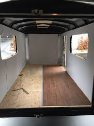 enclosed trailer flooring ideas. Cargo Trailers · Cut Out Windows, Painted Walls With Exterior Paint And Installed Flooring Enclosed Trailer Ideas