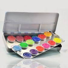 kryolan aquacolor 24 color makeup palette kit 1108ac for face and body paint