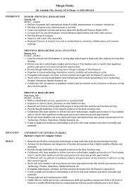 Principal Researcher Resume Samples Velvet Jobs