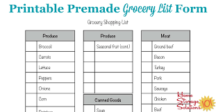 grocery list template printable free printable grocery list form
