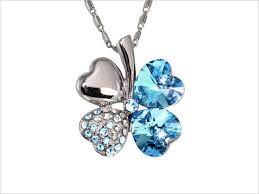 18k gold plated swarovski crystal heart shaped four leaf clover pendant necklace aquamarine blue
