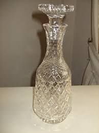 vintage crystal cut glass wine decanter with mushroom shaped stopper
