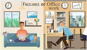 home office work. The Concept Of Office Work And Freelancing. Scenes People Working In Home