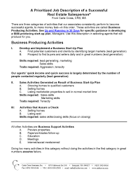 Business Plan Real Estate Agent Prioritized Job Description Of