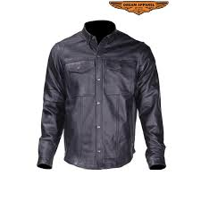 leather shirt with snaps for men zoom
