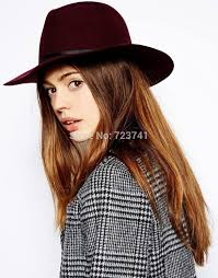 6pcs/LOT New Fashion Autumn Winter 100% Wool Women\u0027s Fedora hats Floppy Trilby felted hat Ladies Panama Cap Adjusted Wholesale