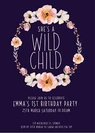 Wild Child Floral Design Wild Child Customized Printable Birthday Invitation Floral