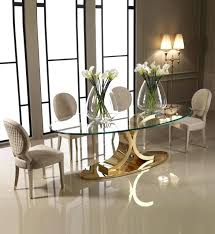 glass oval dining table designer carat gold plated set interiors