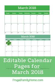editable calendar march 2018 editable calendar 2018 march printable pack frugal family home