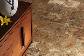 vinyl flooring that looks like stone with grout installed