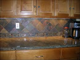 backsplash material beige granite countertop brown wooden cabinet set decorative accent tile slate backsplash add natural