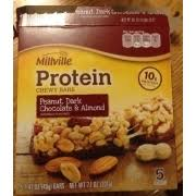 millville peanut dark chocolate almond protein chewy bars nutrition grade c