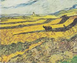 vincent van gogh field with plowing farmer and mill 1889 museum of