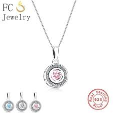whole fc jewelry 925 sterling silver pink blue clear cubic zirconia heart stone pendant necklaces for women chain choker trinket gift silver necklace