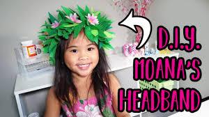 diy moana headband flower headband craft moana costume party ideas