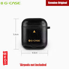 picture of gcase monte carlo series genuine leather airpods case with strap black