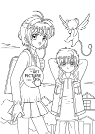 Small Picture Sakura with friend coloring pages for kids printable free