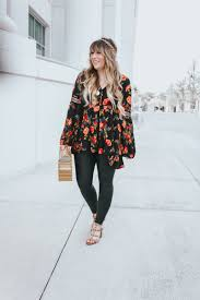boho top and leather leggings fl tunic top leather leggings outfit
