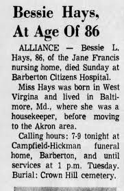 Obituary for Bessie L. Hays (Aged 86) - Newspapers.com