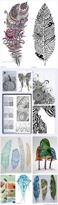 155 Best Zentangle Feather Images On Pinterest Feather