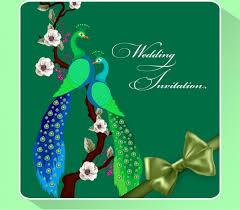 Green Card Template Wedding Invitation Card Template Green Peafowl Ribbon Ornament Free