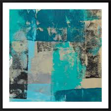 quadriptych art 16 x 18 by qiqigallery turquoise blue set of four original abstract landscape painting on paper wall