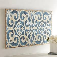on blue and white wall art with geometric indigo tile wall art