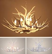 9 deer antler chandelier pure white nine cast candle style ceiling lights rustic pendant