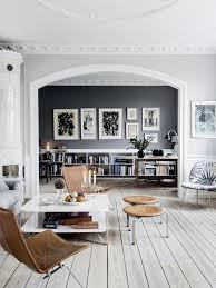 whitewashed grey wooden floors in a scandinavian living room