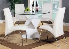modern round white high gloss clear glass dining table 4 4 chair with glamorous white round