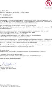 Omron Blood Pressure Monitor Comparison Chart Hem6321t Blood Pressure Monitor Rf Exposure Info Fcc Rf