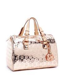 Lyst - Michael Kors Grayson Monogram Medium Satchel, Rose Gold in Pink