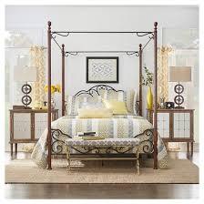 Sereno Metal Canopy Bed Queen Bronze Cherry Inspire Q Tar