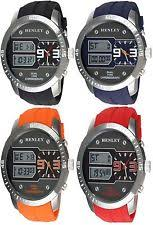mens large watches genuine henley gents mens large face analogue digital watches hdg030 brand new