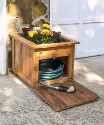 garden hose storage pot. yard equipment, unpredictable garden hose storage box from wood with double function as a pot n