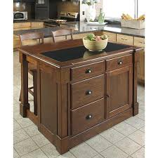 ... Aspen Kitchen Island With Granite Top And 2 Bar Stools
