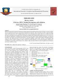 Pdf A Review Hplc Method Development And Validation